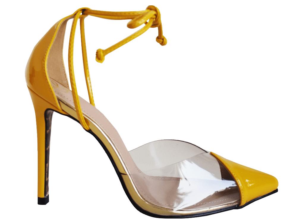 Scarpin verniz amarelo salto 11cm Cód.1001