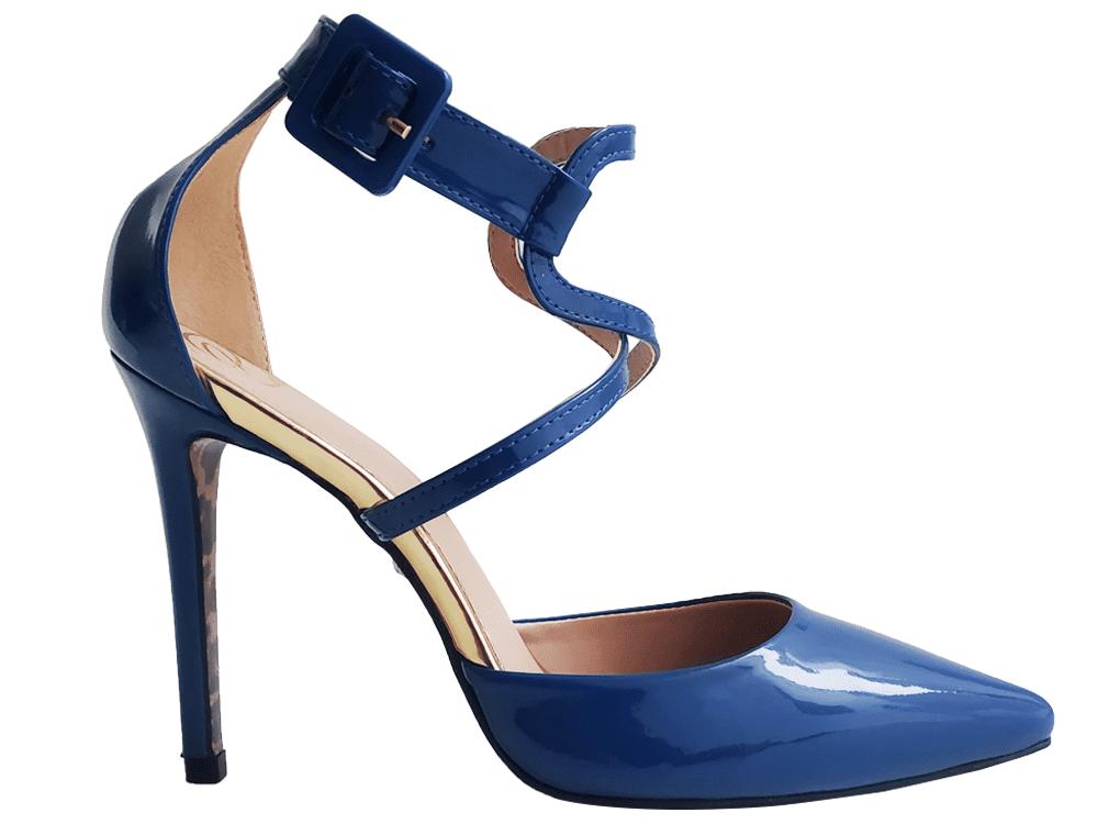 Scarpin verniz azul salto 11cm Cód.915