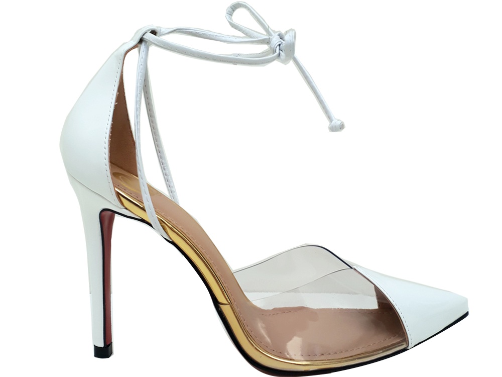 Scarpin verniz branco dourado salto 11cm Cód.532