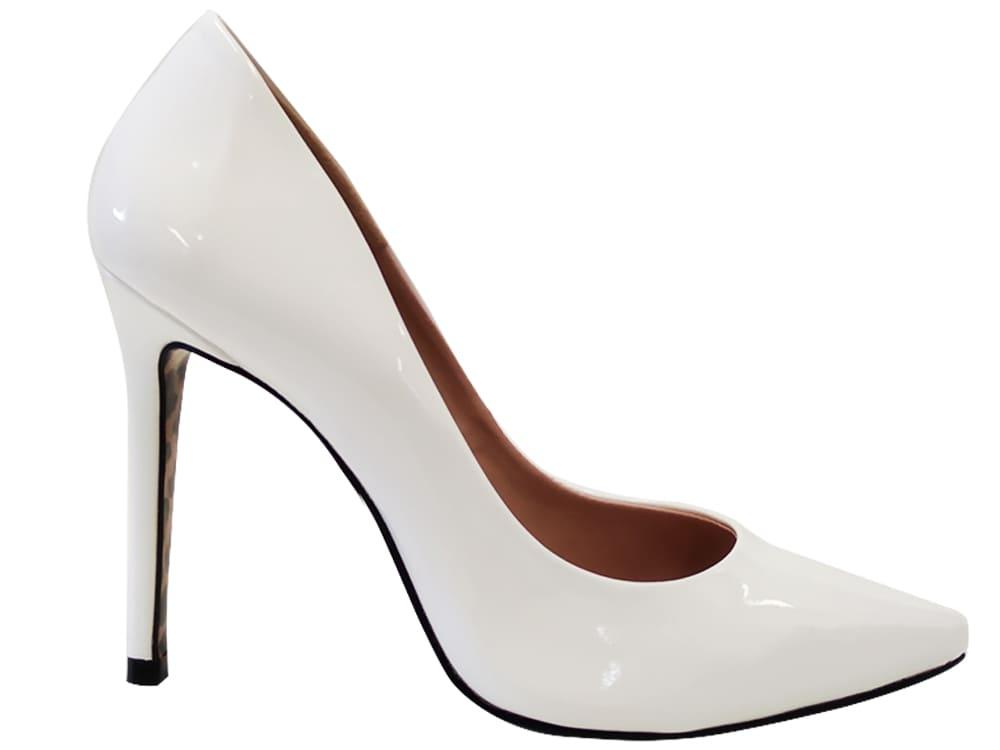 Scarpin verniz branco salto 11cm   Cód.: 1067