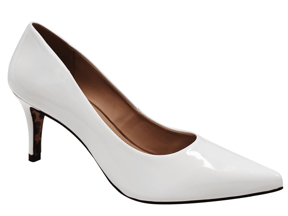 Scarpin verniz branco salto 7cm Cód.: 1465