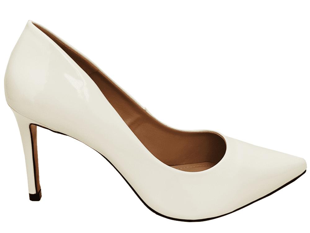 Scarpin verniz branco salto 9cm Cód.: 919