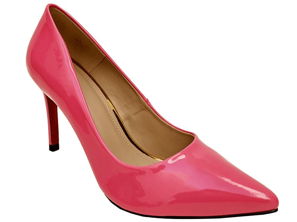 Scarpin verniz rosa salto 9cm Cód.: 921