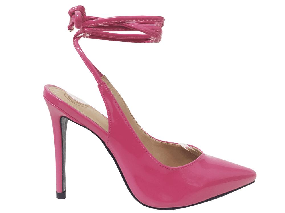 Scarpin verniz rosa schock salto 11cm Cód.1366