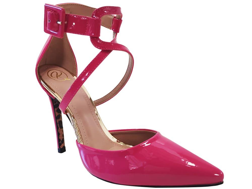 Scarpin verniz rosa schok salto 11cm Cód.1079