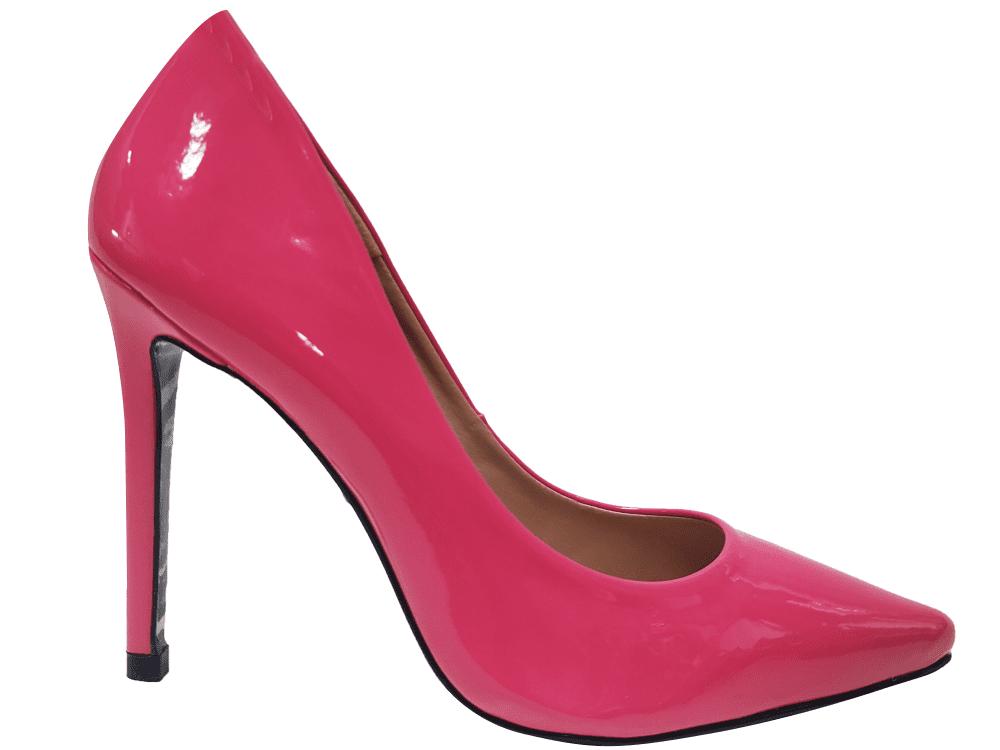 Scarpin verniz rosa schok salto 11cm   Cód.: 1341