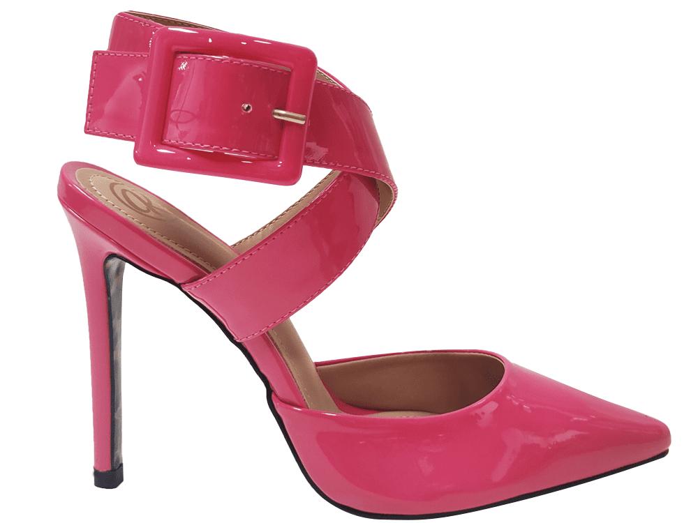 Scarpin verniz rosa schok salto 11cm Cód.1412