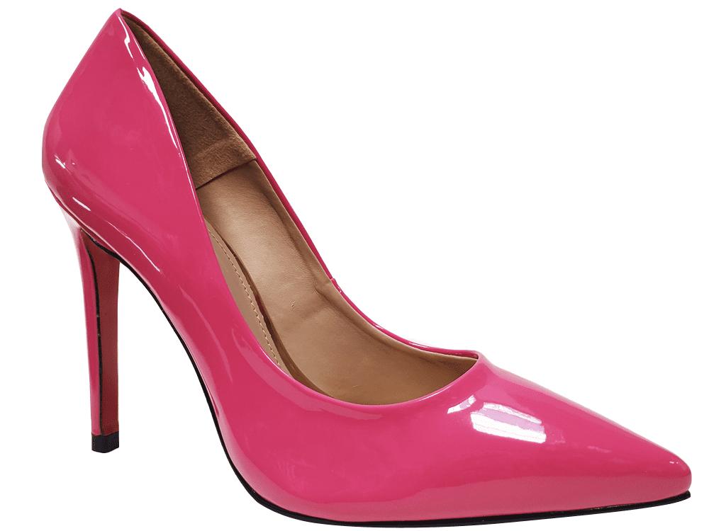 Scarpin verniz rosa schok salto 11cm   Cód.: 1467
