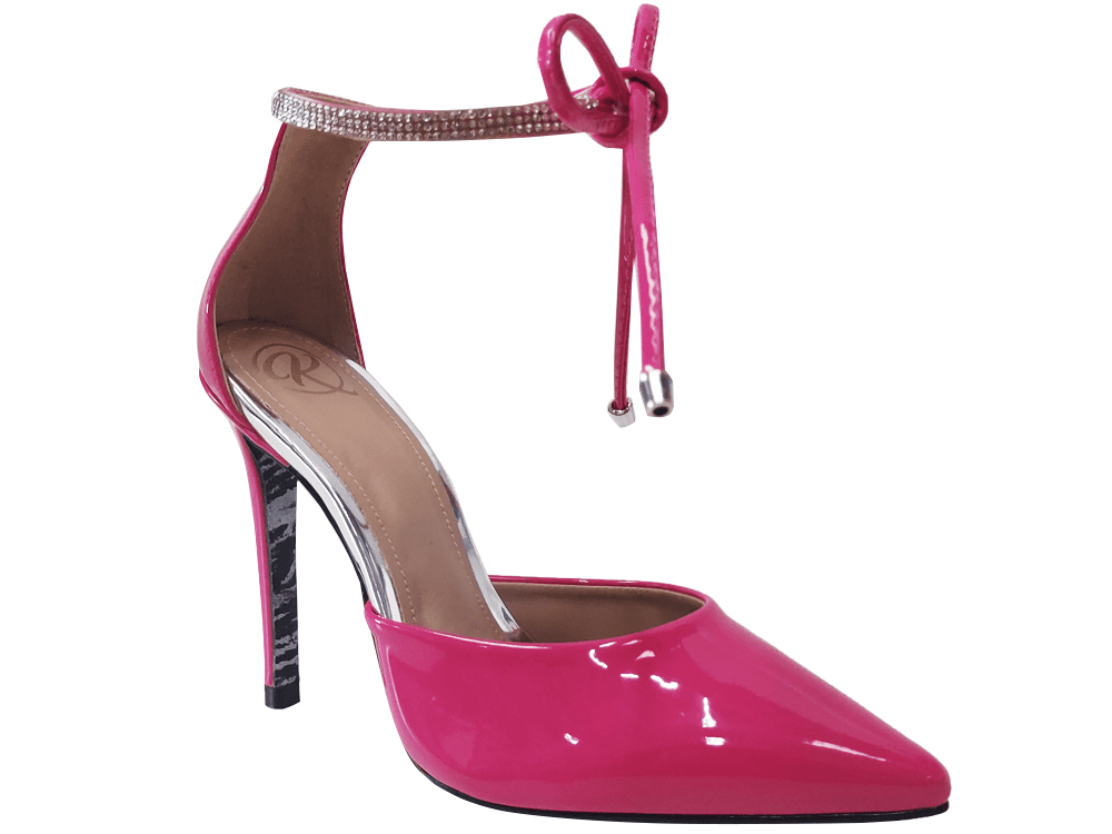 Scarpin verniz rosa shock / strass 11cm  Cód.: 1352