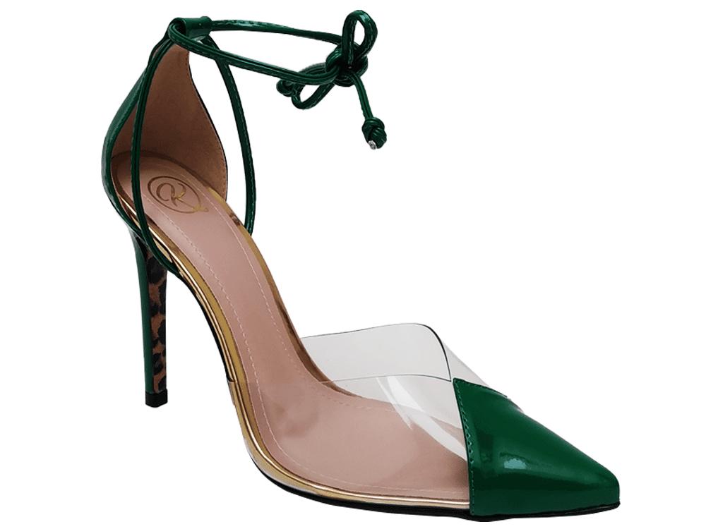 Scarpin verniz verde salto 11cm Cód.862
