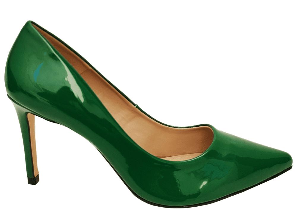 Scarpin verniz verde salto 9cm Cód.: 922