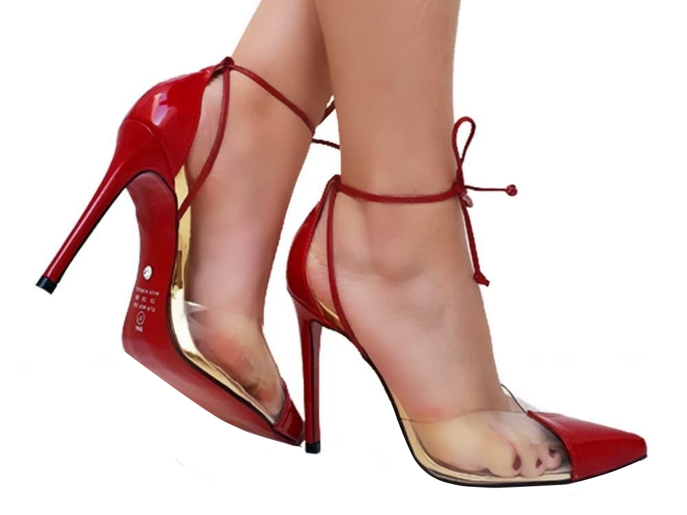 Scarpin verniz vermelho dourado salto 11cm Cód.496