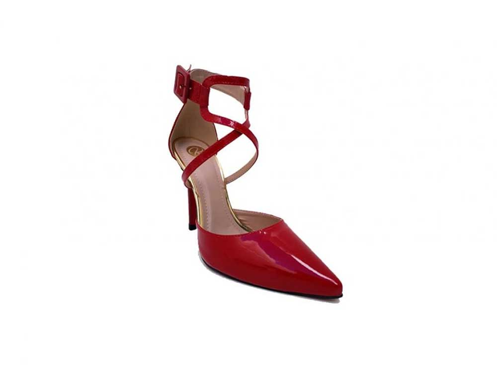 Scarpin verniz vermelho salto 11 cm Cód.499