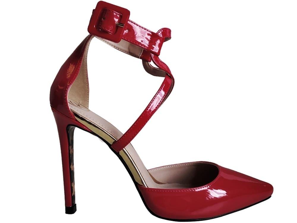 Scarpin verniz vermelho salto 11cm Cód.1028