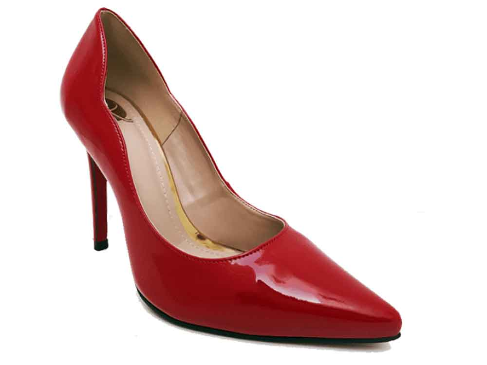Scarpin verniz vermelho salto 11cm Cód.484