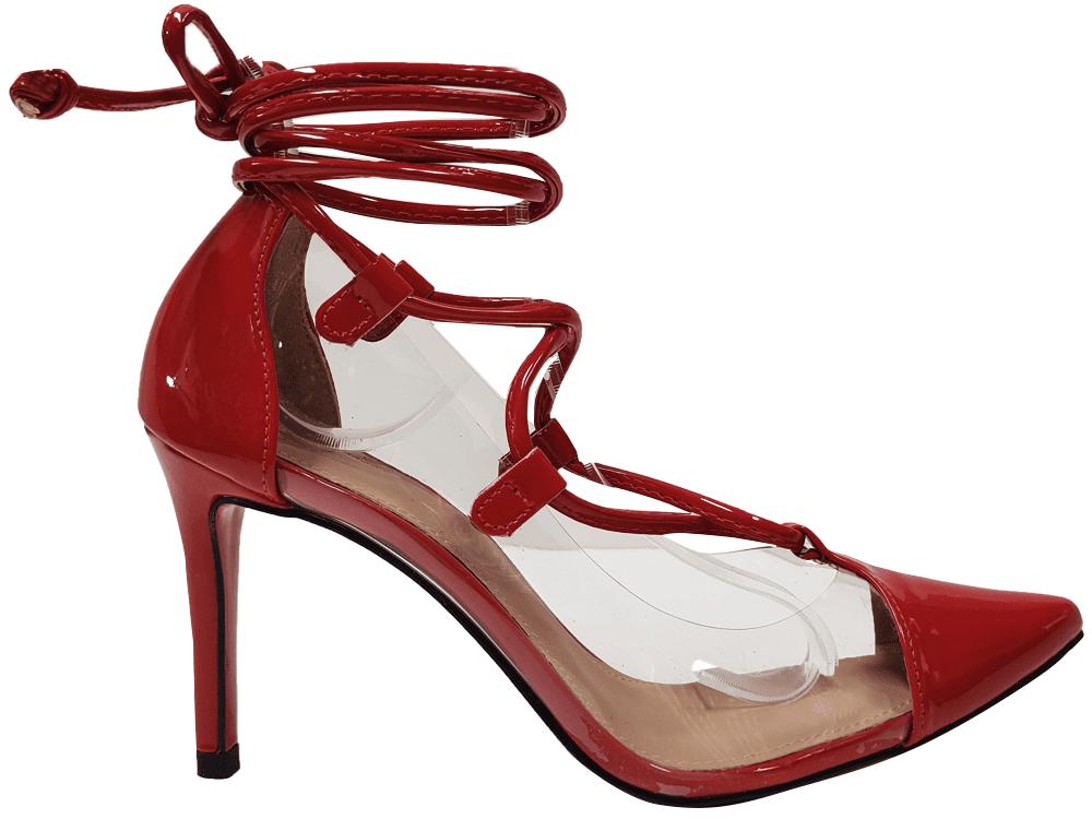 Scarpin verniz vermelho salto 9cm Cód.: 1417