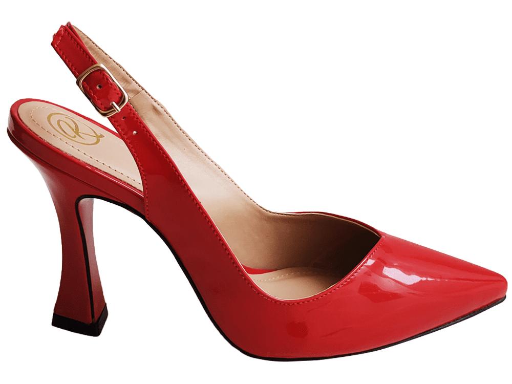 Scarpin verniz vermelho salto 9cm Cód.: 913