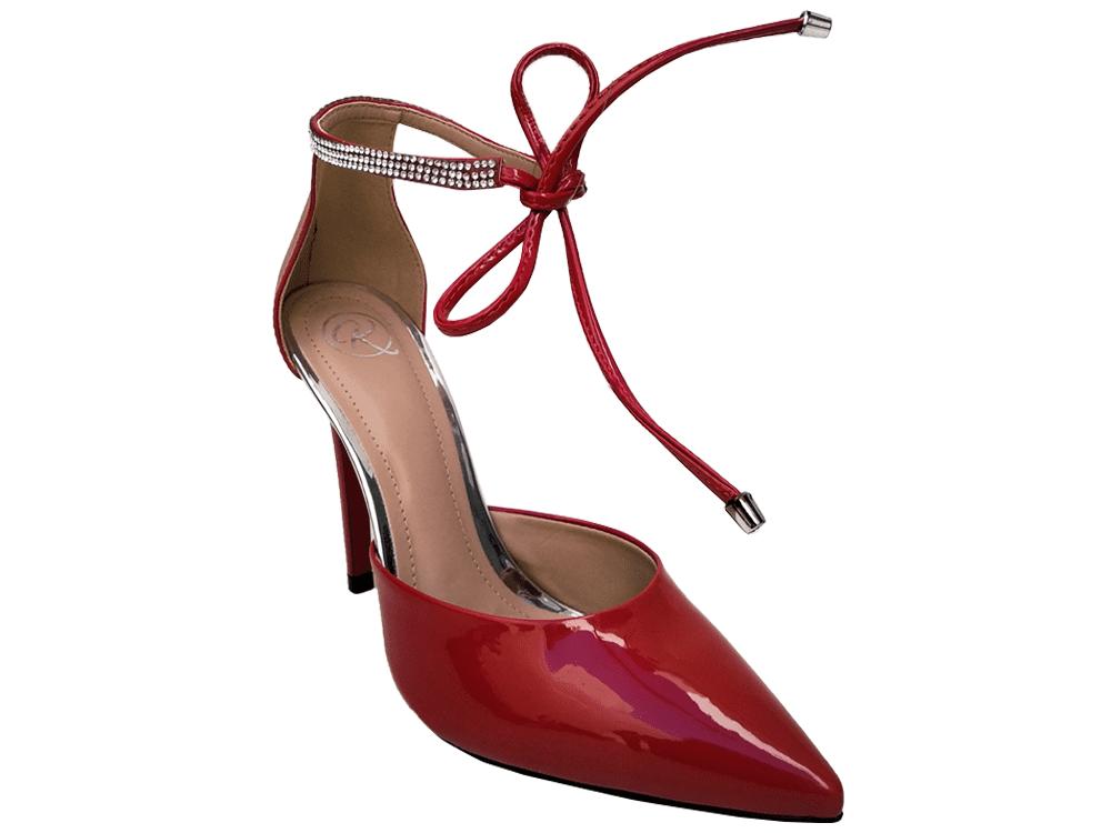 Scarpin verniz vermelho / strass 11cm  Cód.: 895