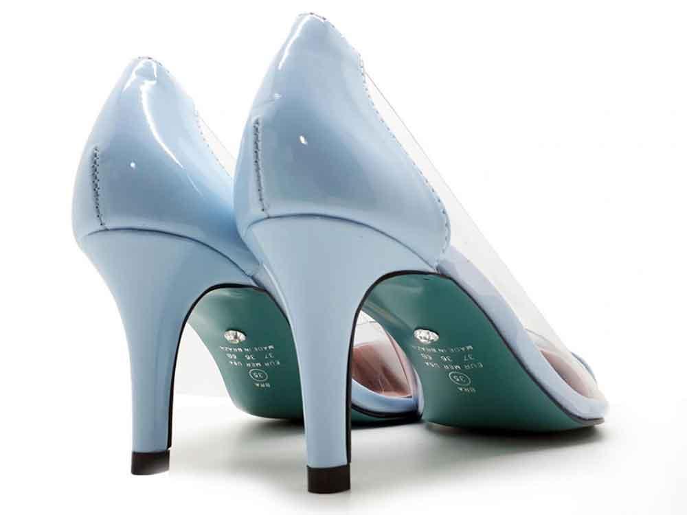 Scarpin vinil azul salto 7 cm  Cód.: 098