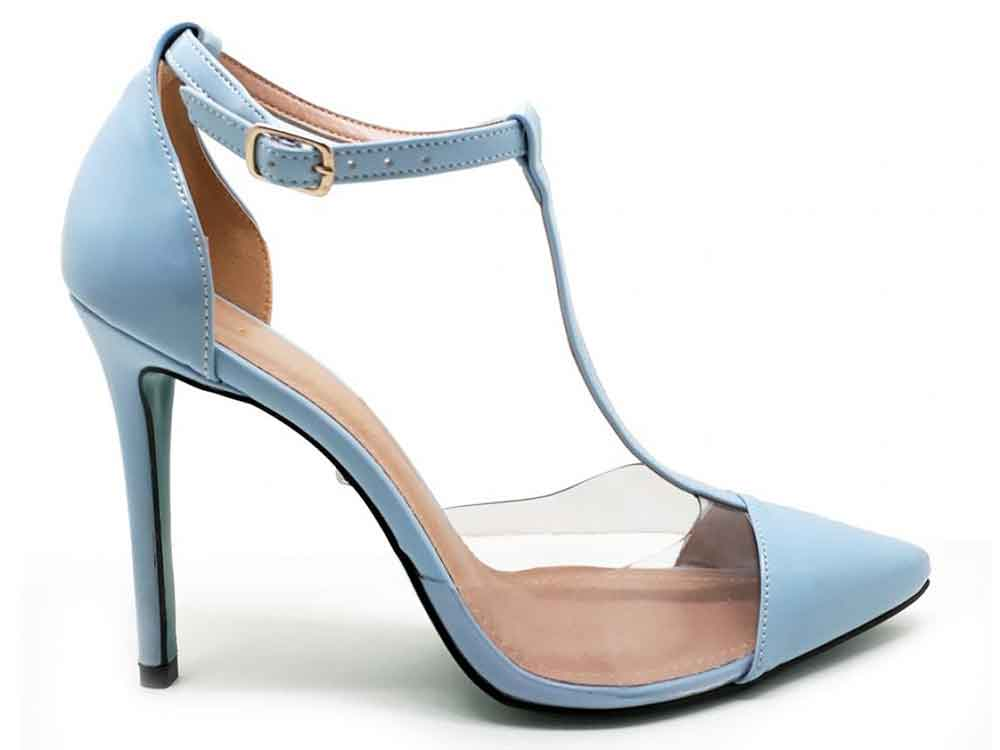 Scarpin vinil cristal verniz azul salto 11cm  Cód.: 087