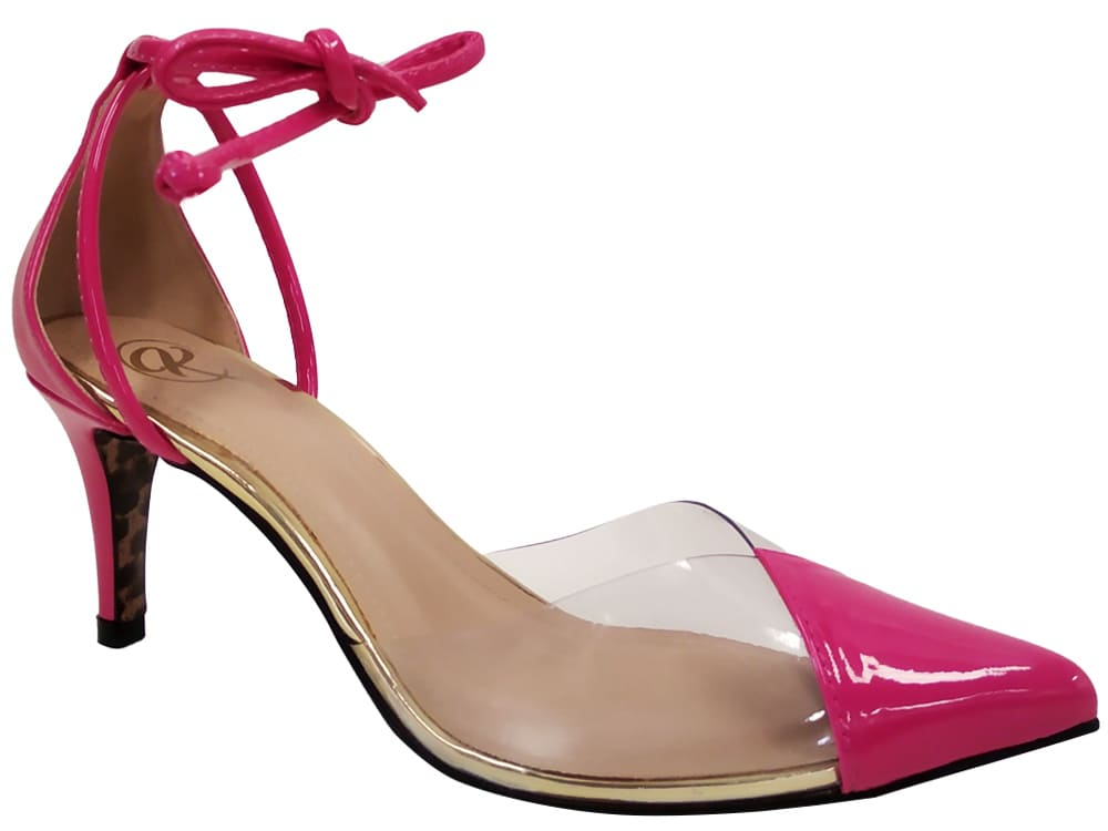 Scarpin Vinil e verniz pink de amarrar 7cm Cód.1117