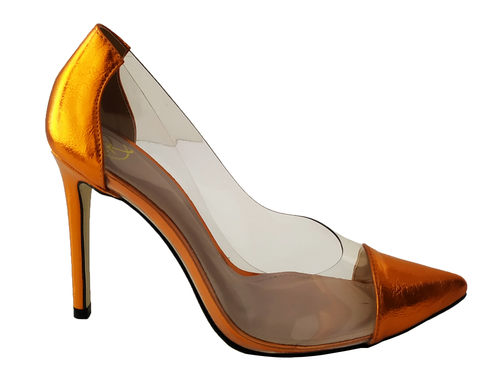 Scarpin vinil metalizado laranja salto 11cm Cód.: 780