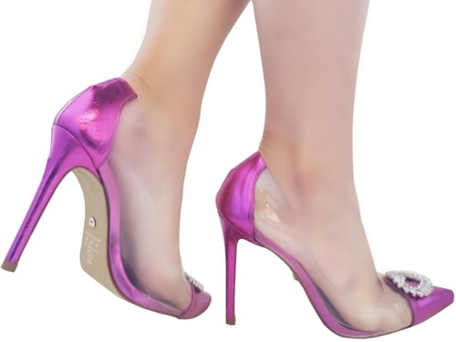 Scarpin vinil metalizado pink salto 11cm Cód.: 1003