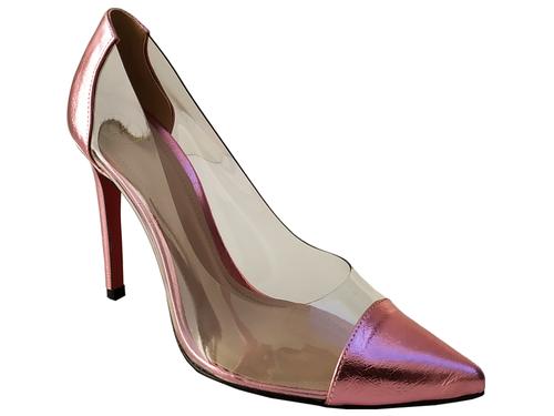 Scarpin vinil metalizado rosa salto 11cm Cód.: 778