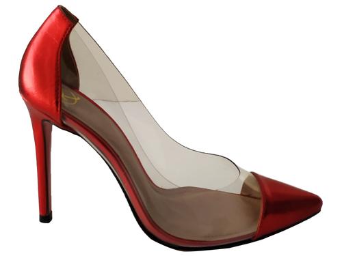 Scarpin vinil metalizado vermelho salto 11cm Cód.: 779