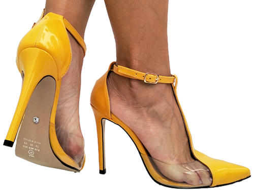 Scarpin vz amarelo com vinil  11cm Cód.716