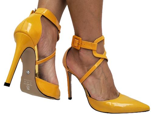 Scarpin vz amarelo salto 11cm Cód.717
