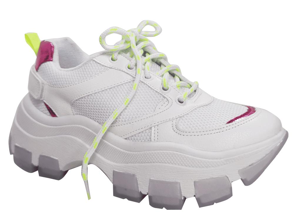 Tenis branco / pink Cód.1573