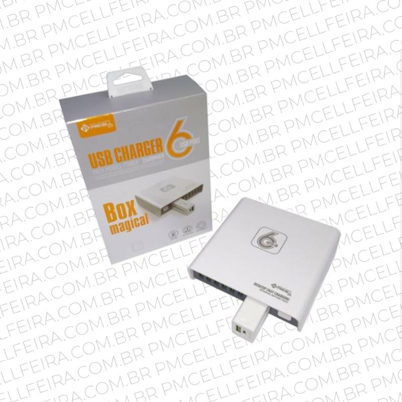 BOX MAGICAL COM 6 SAÍDAS TURBO POWER BANK 2600MAH PMCELL HC-54