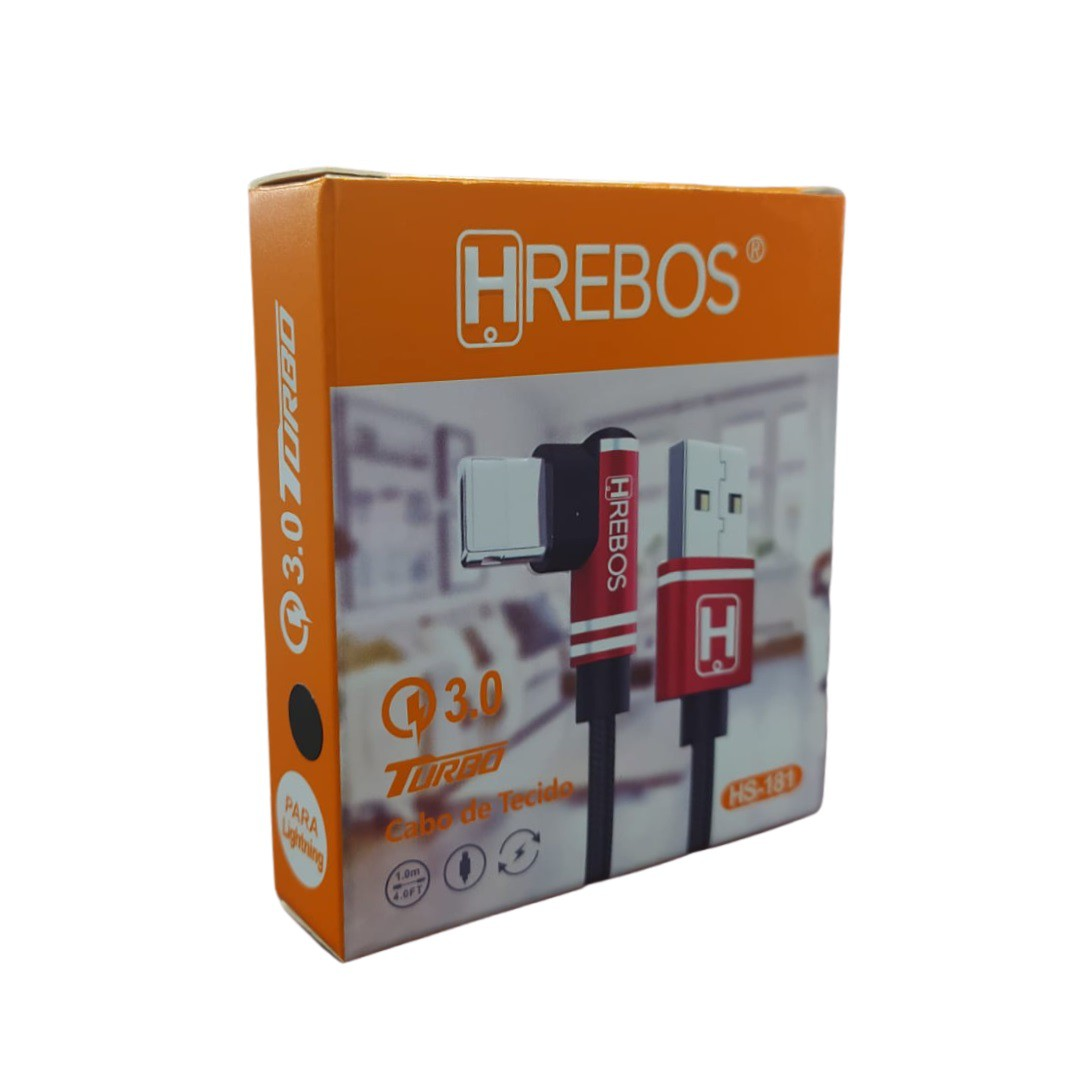 Cabo Iphone 3.1A Turbo 1m Hrebos HS-181