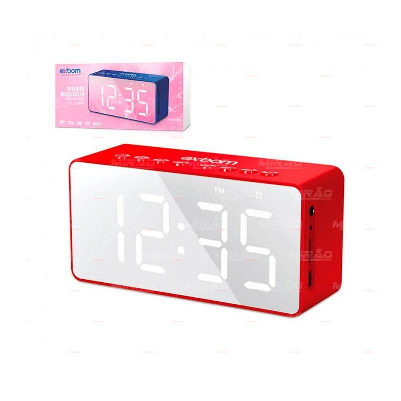 Caixa de Som Bluetooth Rádio Fm Relógio Despertador Espelho Exbom CS-MT6BT