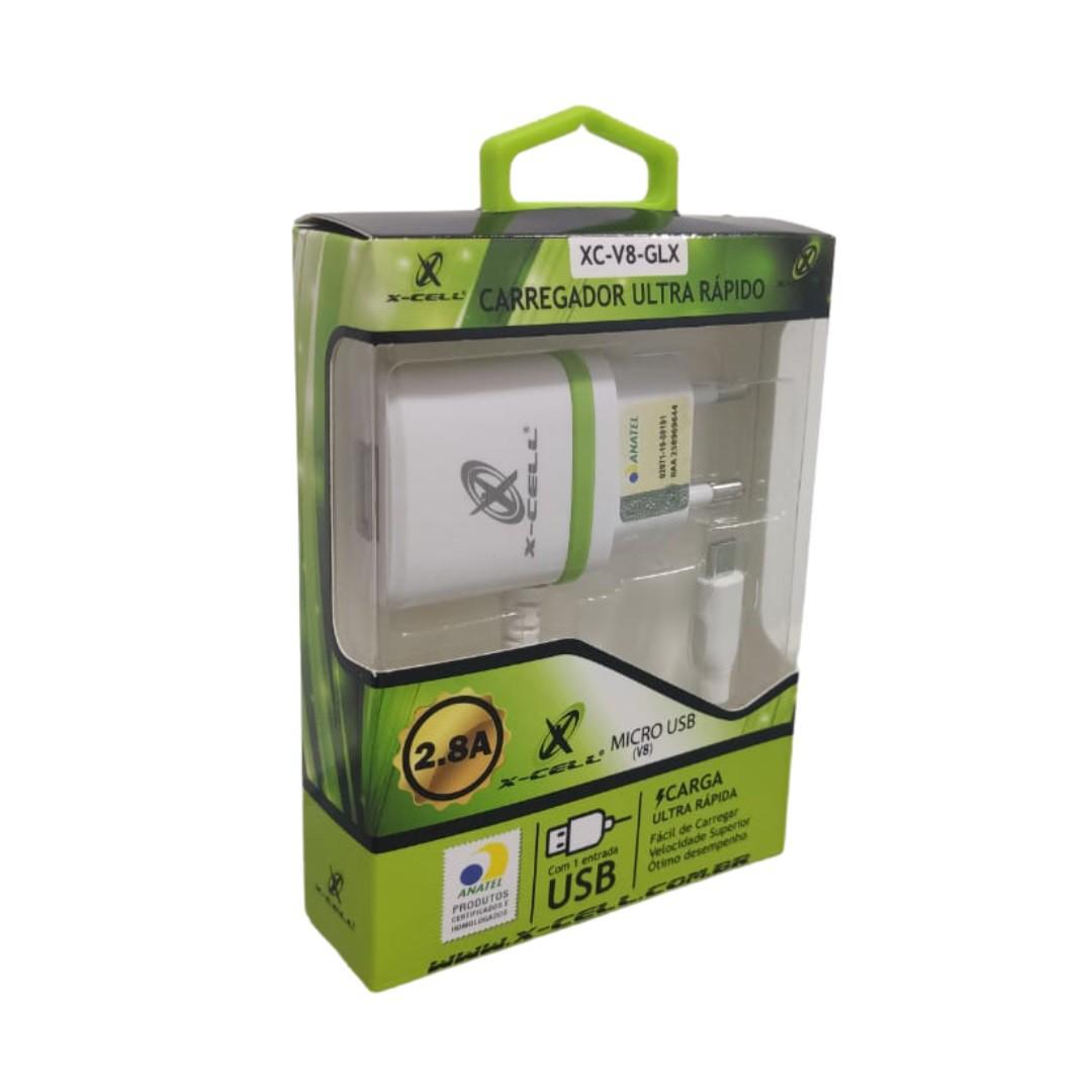 Carregador Micro 2.8A com Selo Anatel X-cell XC-V8/GLX