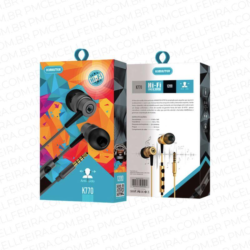 Fone de Ouvido Intra-Auricular com Microfone Kimaster K770