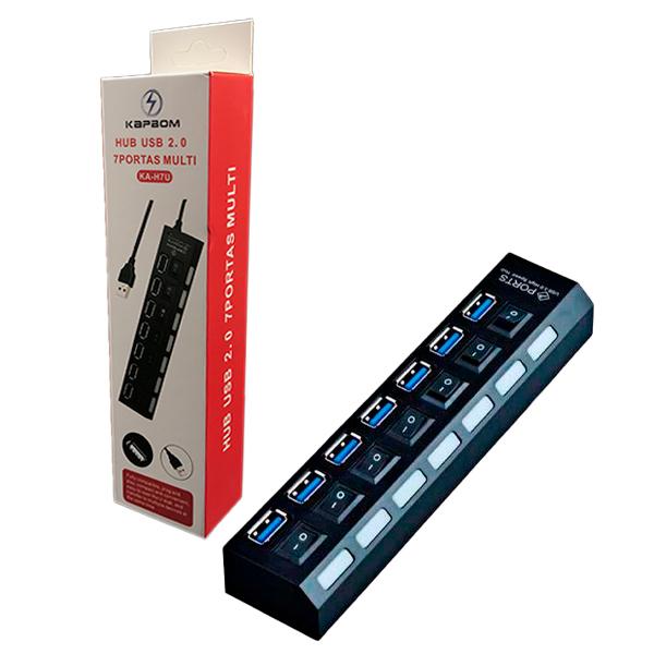 Hub USB com 7 Portas Multi Kapbom KA-H7U