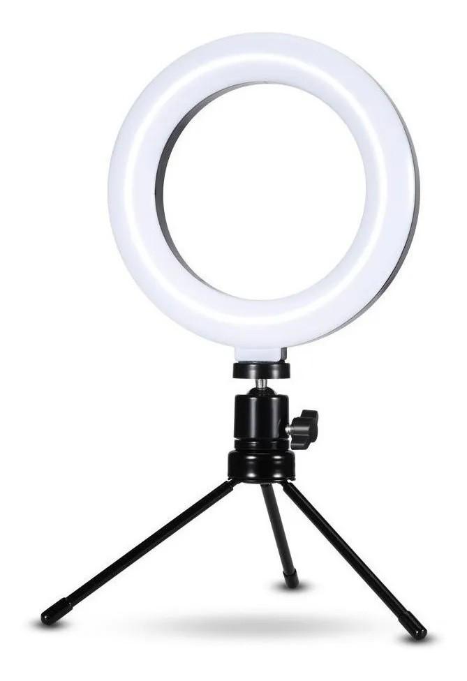 Ring Light de Mesa Iluminador de Led Tripé 6 Polegadas 16cm Exbom ILUM-R06W5