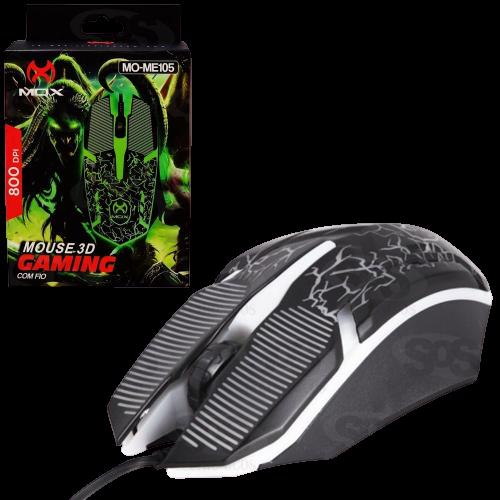 Mouse Gamer 3d Led com Fio 800 DPI MOX MO-ME105