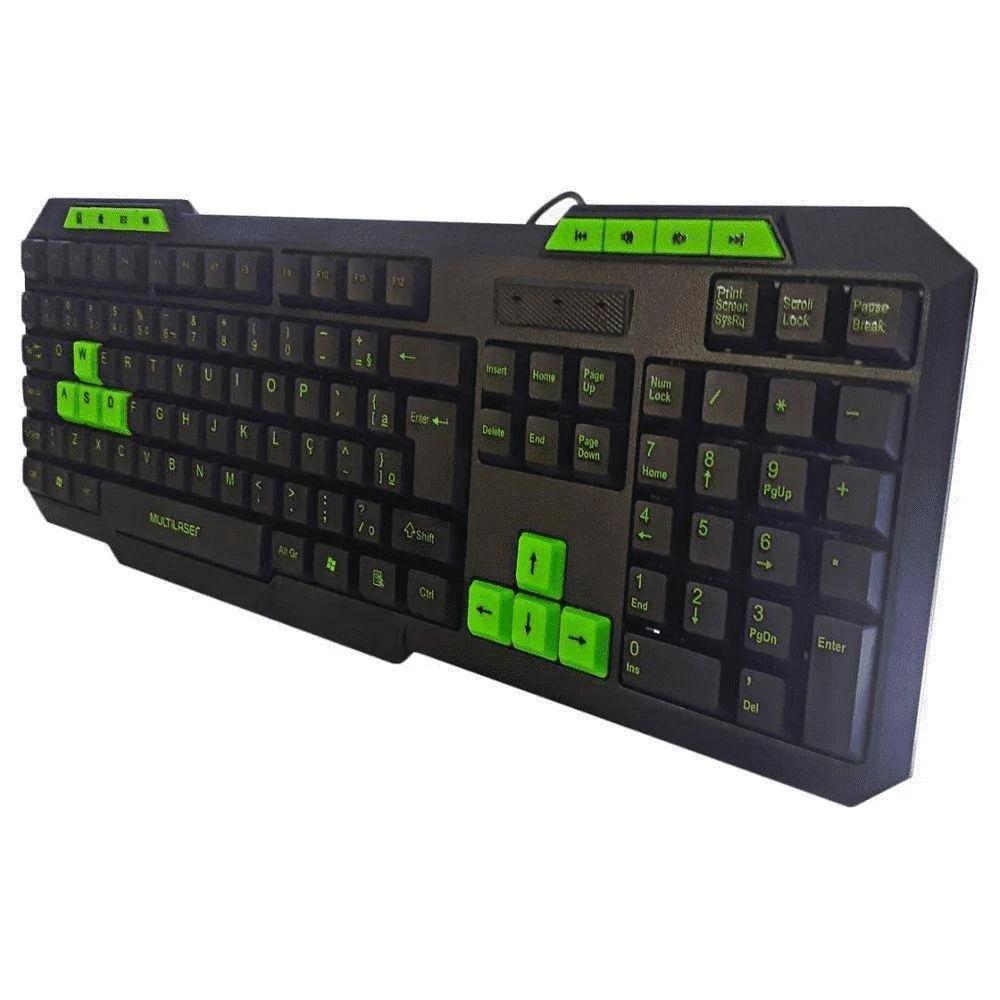 Teclado Gamer Multimídia Slim Verde Multilaser TC243