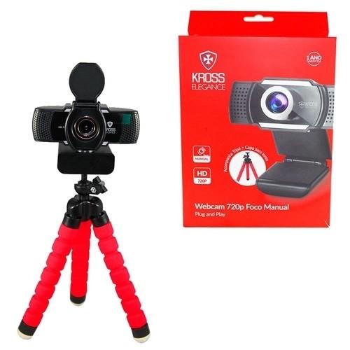 Web Cam HD 720p Foco Manual com Tripé Kross Elegance KE-WBM720P