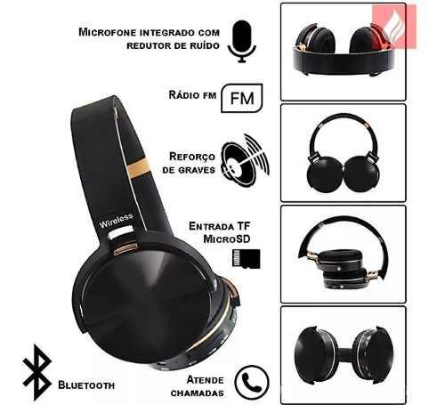 Fone De Ouvido Bluetooth Jbl950 Sem Fio Rádio Fm Sd Cinza