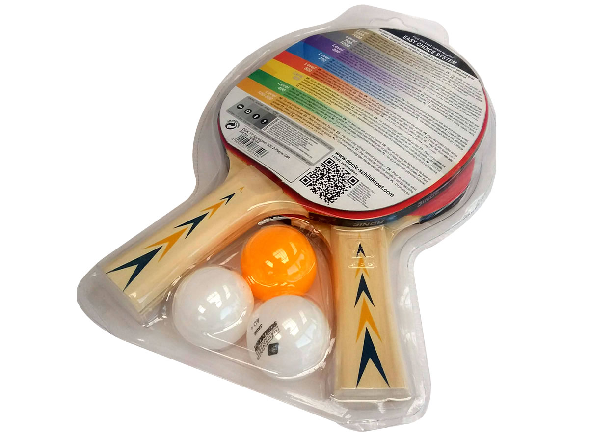 Kit 2 Raquetes + 3 Bolas Tênis De Mesa Donic Appelgren Lv 300