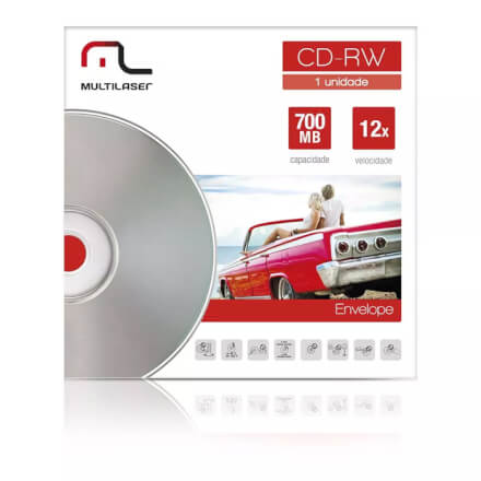 Midia CD-RW Vel. 12X - 1 Un. Envelope Impresso Em Caixa Mult