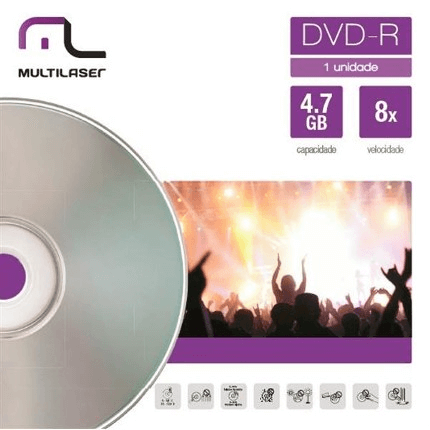 Midia DVD-R Velocidade 08X Unitario Em Envelope Multilaser D