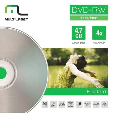 Midia DVD-RW Vel. 04X - Envelope Impresso Multilaser DV064
