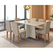 Conjunto Sala de Jantar Mesa Ana 1,60m Tampo com Vidro e 6 Cadeiras Amanda - New Ceval