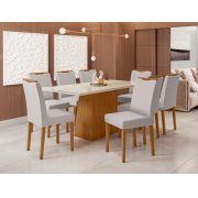Conjunto Sala de Jantar Mesa Jasmin 1,80m Tampo com Vidro e 8 Cadeiras Munique - New Ceval