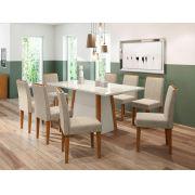 Conjunto Sala de Jantar Mesa Julia 1,80m Tampo com Vidro e 8 Cadeiras Ana - New Ceval